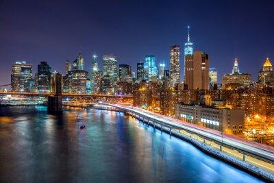 Image New York City scène de nuit avec Manhattan skyline et Brooklin B