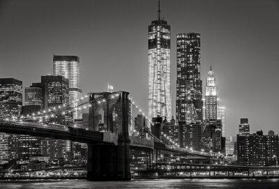 Image New York par nuit. Pont de Brooklyn, Lower Manhattan - un Noir