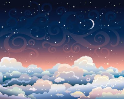 Image Night sky with clouds and moon.