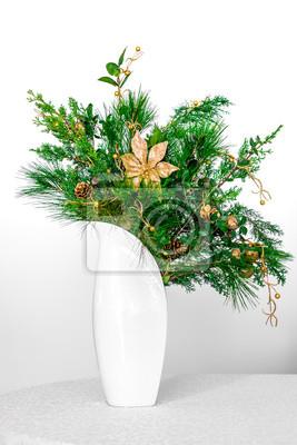 Image Noël Décoration Florale De Plantes à Feuilles Persistantes Dans Un  Vase