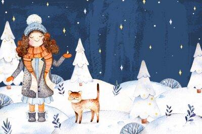 Noël et Nouvel An collection.Watercolor illustration peinte à la main avec une jolie fille dans un manteau de laine, écharpe, chapeau et son petit ami-cute kitten.Winter paysage avec arbre de Noël.Dre
