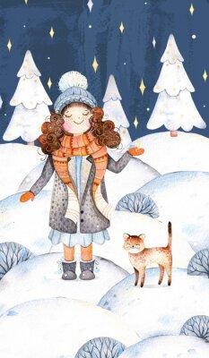 Noël et Nouvel An collection.Watercolor illustration peinte à la main avec une jolie fille dans un manteau de laine, écharpe, chapeau et son petit chaton amie-cute.Winter paysage avec arbre de Noël.