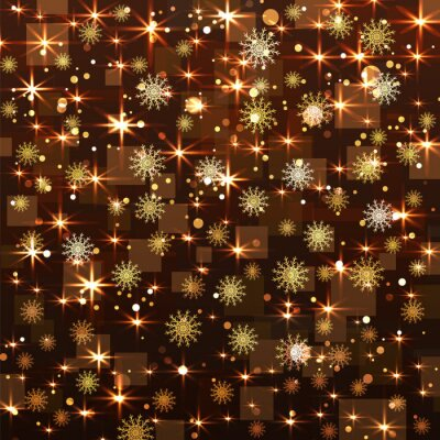Noël, fond, flocons neige, étoiles