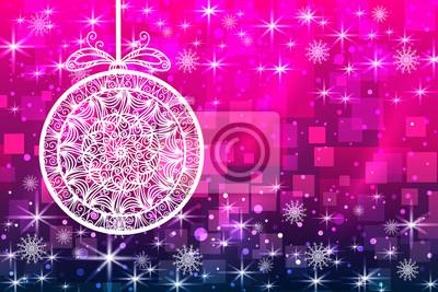 Noël, fond, flocons neige, étoiles, balle