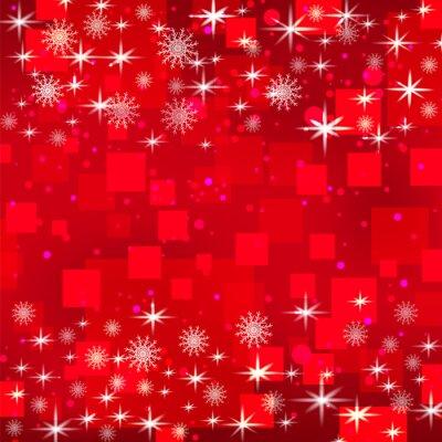 Noël, vacances, rouges, fond, flocons neige, étoiles