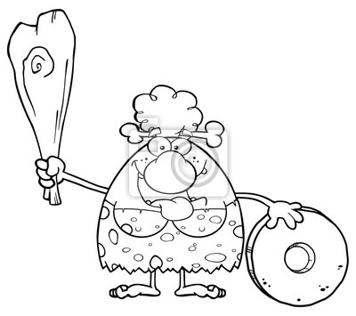 Image Noir Blanc Heureux Caverne Femme Dessin Animé Mascot Caractère