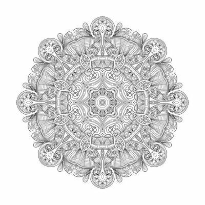 Image Noir, blanc, résumé, circulaire, ethnique, modèle, mandala.