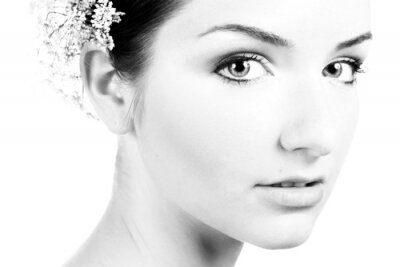 Image Noir et blanc close-up d'une belle femme