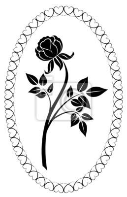 Noir Et Blanc Dessin Rose Illustration Vectorielle Peintures