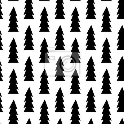Image Noir Noël Arbre Noël Modèle Seamless Vecteur