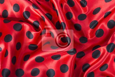 Noir, rouge, polka, point, satin, tissu, fond