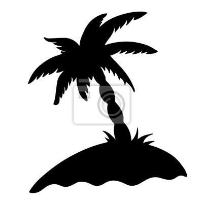 Noir, silhouette, île, paume, arbre