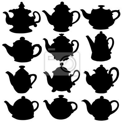 Noir, silhouettes, kettles, théières