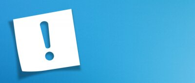 Image Note paper with exclamation mark on panoramic blue background