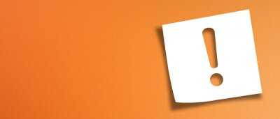 Image Note paper with exclamation mark on panoramic orange background