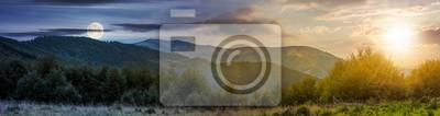Image notion de changement de temps sur les montagnes des Carpates. panorama avec soleil et lune dans le ciel. beau paysage avec des collines boisées et la montagne Apetska au loin.