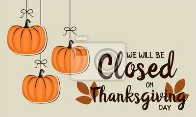 Image Nous serons fermés sur carte de remerciement ou de fond. illustration vectorielle