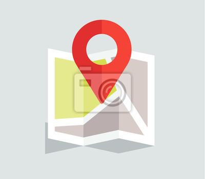 Nouvelle carte de localisation design plat avec épingle rouge, Images myloview