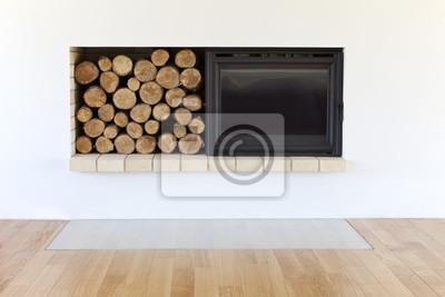 nouvelle cheminée avec des bûches de bois