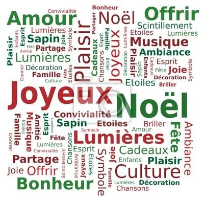 Nuage De Mots Joyeux Noël Fête Des Lumières Bonheur En Français