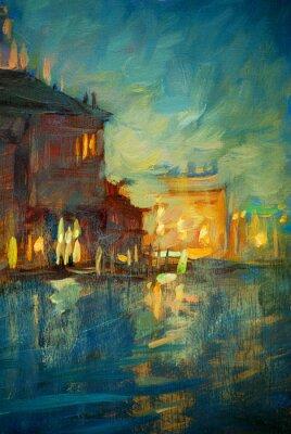 Image nuit à Venise, peinture à l'huile sur toile, illustration