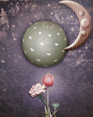 Image Nuit étoilée avec la lune et fleurs du printemps