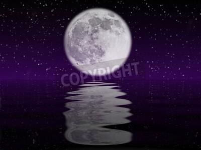Nuit Etoilee Avec La Lune Reflete Dans Locean Peintures Murales Tableaux Nocturne Clair De Lune Planetarium Myloview Fr