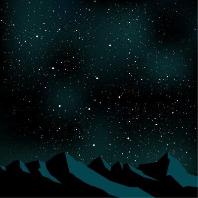 Image Nuit étoiles du ciel, paysage de montagne, illustration vectorielle