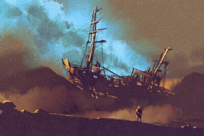 Image Nuit, scène, abandonné, bateau, désert, stary, ciel