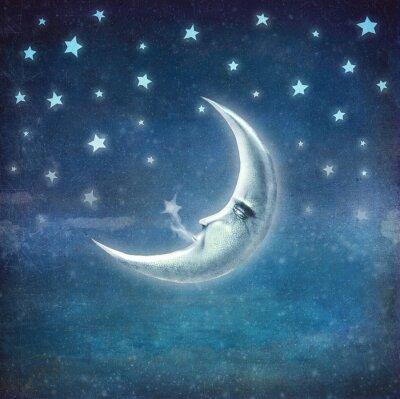 Image Nuit, temps, étoiles, lune, fond