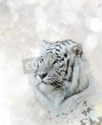 Image Numérique, peinture, blanc, tigre, tête