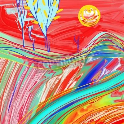 Image Numérique, peinture, rouge, coucher soleil, paysage, créatif, Illustration, inspiration, moderne, impressionisme ...