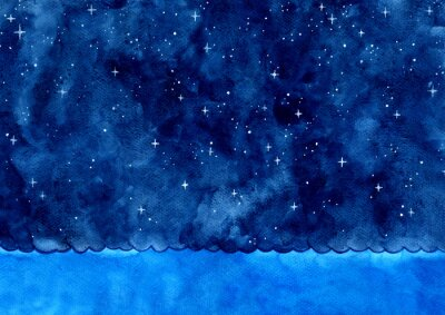 Ocean wave and night sky among the star watercolor hand painting background