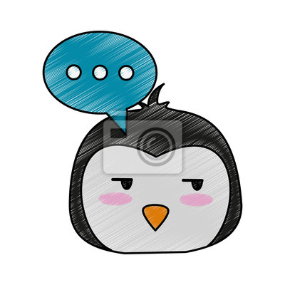 œil De Pingouin Cote Et Chat Bulle Icone De Dessin Anime Mignon