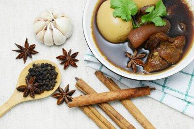 Image Oeufs, porc, cuit, sauce