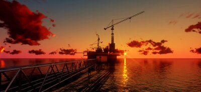 Image Offshore oil and rig platform in sunset time. Construction of production process in the sea. Power energy of the world..3d render