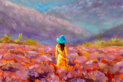 Image Oil Painting Beautiful Girl stands with her back in a lavender pink flower field - floral French Tuscan landscape