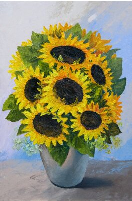 Image Oil painting - bouquet of sunflowers in a vase on an abstract background, beautiful flowers