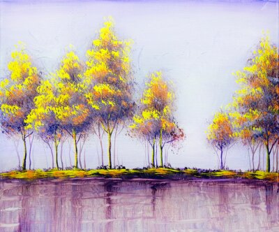 Image Oil painting landscape, abstract colorful gold trees