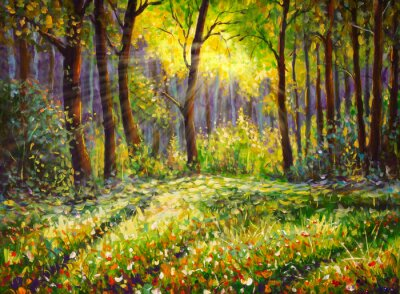 Image Oil painting on canvas modern impressionism Sunny forest landscape