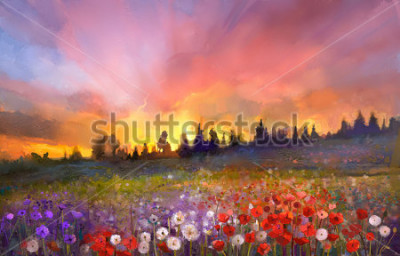 Image Oil painting poppy, dandelion, daisy flowers in fields. Sunset meadow landscape with wildflower, hill, sky in orange and blue violet color background. Hand Paint summer floral Impressionist style