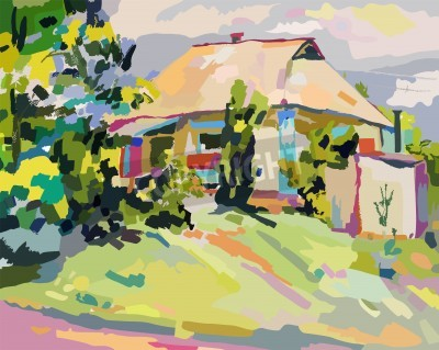Image oil paintings of summer village