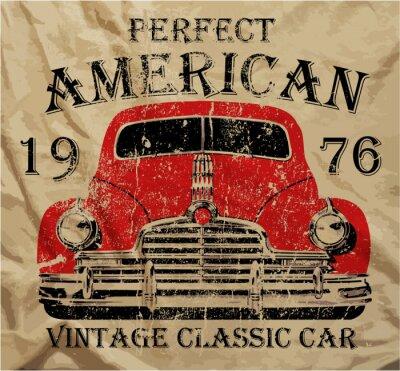 Image Old American Vintage T-shirt Voiture Graphic Design