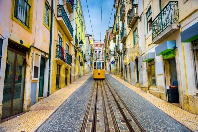 Image old town streets and street car in Lisbon, Portugal