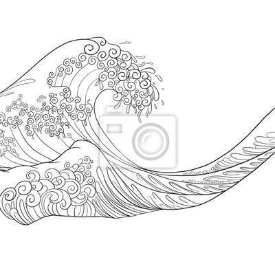 Onde Japonaise Dessin Isole Illustration Vectorielle De Stock Peintures Murales Tableaux Fracas Des Vagues Imprimer Surfer Myloview Fr