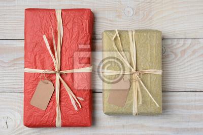 Or et rouge sur blanc Cadeaux Bois