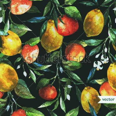 Image orange, citron, aquarelle, fond, sombre, modèle