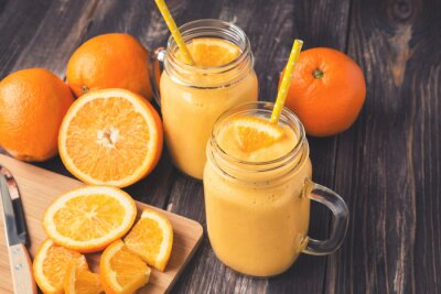 Image Orange, fruit, smoothie, verre, bocaux
