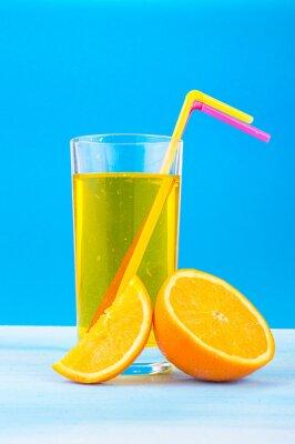 Image Orange, jus, verre, coloré, pailles, orange, tranches, bleu, fond