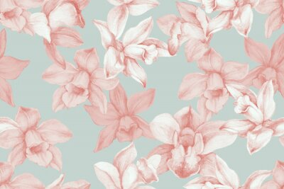 Image Orchids seamless pattern. Kitchen panel concept